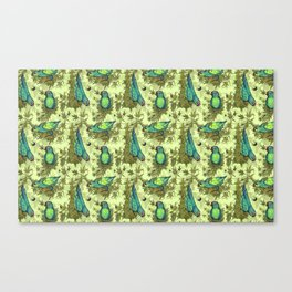 Parrots & Weeds Canvas Print