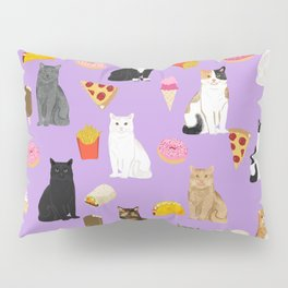 Cat breeds junk food pizza french fries food with cats gifts ice cream donuts Pillow Sham