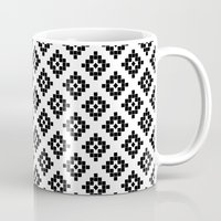 kilim Mugs featuring Southwest in black and white modern traditional geometric aztec native print design desert kilim  by CharlotteWinter