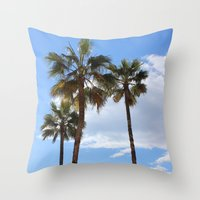 palm trees Throw Pillows featuring Palm Trees by Rebecca Bear