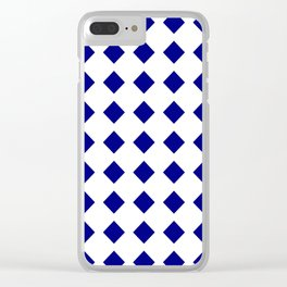 rhombus and tartan 8–  blue and white Clear iPhone Case