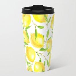 Lemons and leaves  pattern design Travel Mug