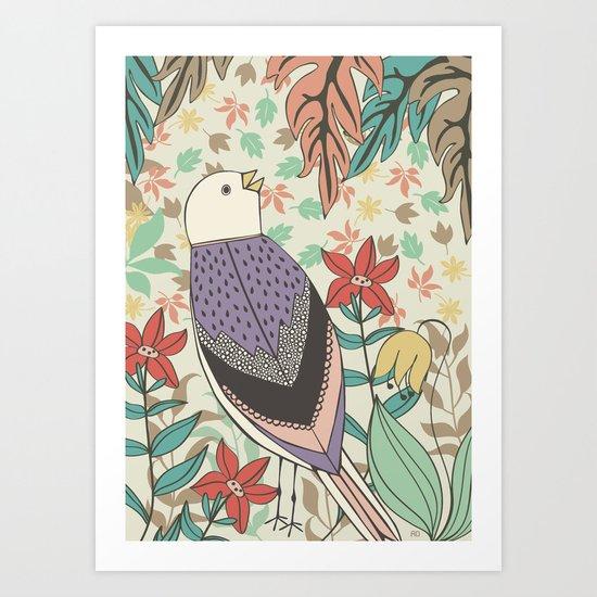Bird and Autumn Leaves Art Print