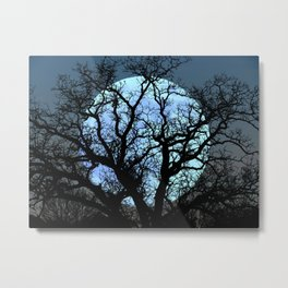 Tree Blue Moon Midnight Blue Sky Cottage Decor Art A474 Metal Print
