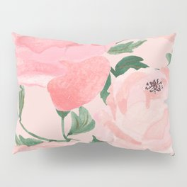 Watercolor Peonies with Blush Background Pillow Sham