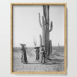 Vintage Native American Photo with Saguao Cactus Serving Tray