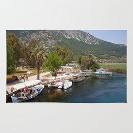 Fishing Boats on The River Azmak Akyaka Turkey Rug