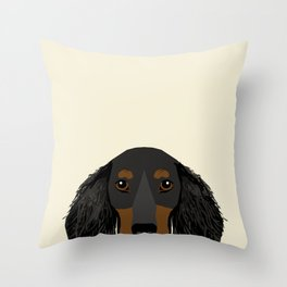 Doxie Portrait - Black and Tan Longhaired dog design - cute dachshund face Throw Pillow