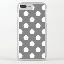 Sonic silver - grey - White Polka Dots - Pois Pattern Clear iPhone Case