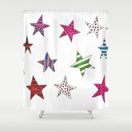 Shiny Christmas Stars - Xmas Decoration Shower Curtain
