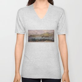 Panorama of West Point from Constitution Island by John Rubens Smith (c 1820) Unisex V-Neck