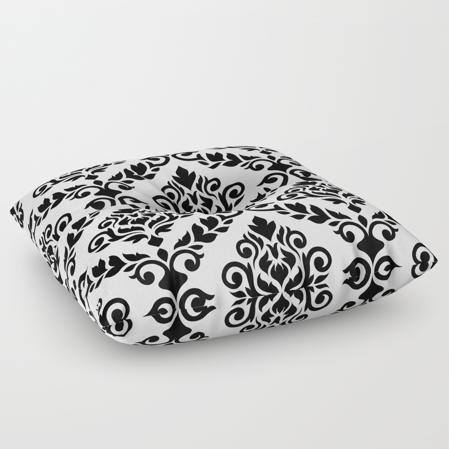 Prima Damask Pattern Black On White Floor Pillow By Nataliepaskell Society6