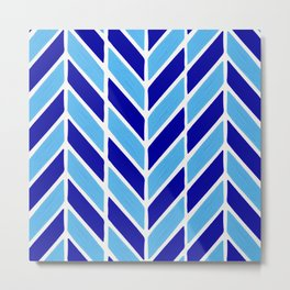 Herringbone Acrylic – Blues Metal Print