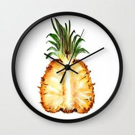 Cut pineapple into halfs - watercolor art Wall Clock