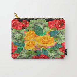Yellow Roses Red Geraniums Green-Black Patters Carry-All Pouch