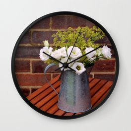 Pitcher of white gentian flowers Wall Clock