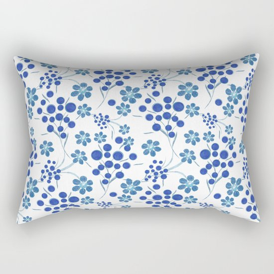Blue flowers on a white background. Rectangular Pillow