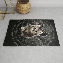 Cat Kitty Black Dark Satanic Satan 666 Hell Horns Cross Rug