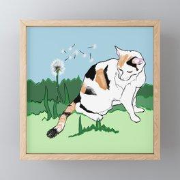 Calico Cat and Dandelion Framed Mini Art Print