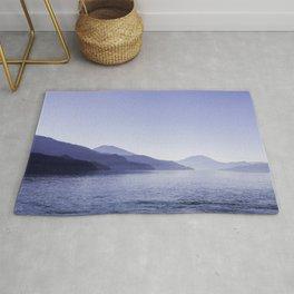 Classic Blue Arrow Lake, Blue Mountain Landscape Rug