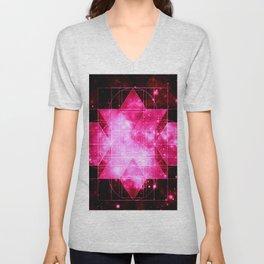 Magenta Galaxy Sacred Geometry Rhombic Hexecontahedron Unisex V-Neck