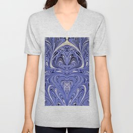 Mirror Blue Oil Gestalt Abstract II Unisex V-Neck