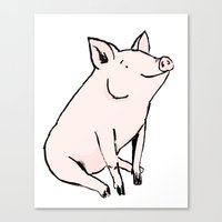 pig Canvas Prints featuring Pig by Emily Stalley