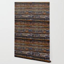 Aged Log Cabin rustic decor Wallpaper
