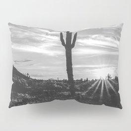 Saguaro Sunrise // Black and White Arizona Desert Landscape Photography Cactus Sun Rays Pillow Sham