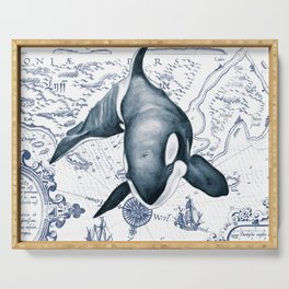 Orca Ancient Map Serving Tray