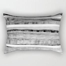 Black&Grey Watercolor Stripes Rectangular Pillow