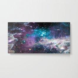 Lavender Teal Star Nursery Metal Print