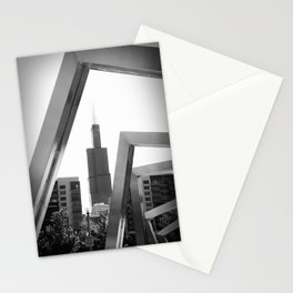 Sears Tower Sculpture Chicago Illinois Black and White Photo Stationery Cards