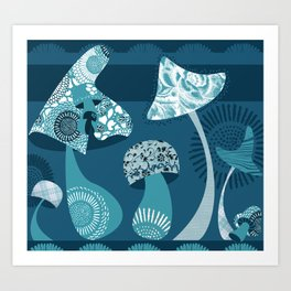 Mushrooms in Blue Art Print