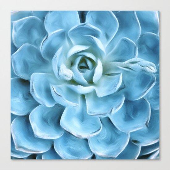 Succulent Macro Blue Canvas Print