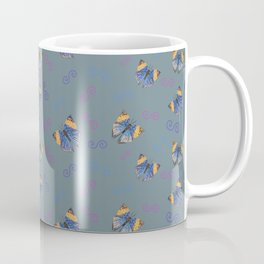 Hand drawn butterflies with double spirals on blue gray Coffee Mug