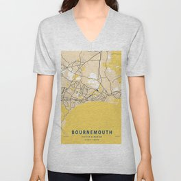 Bournemouth Yellow City Map Unisex V-Neck