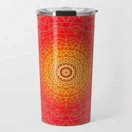 Red Gold Glow Mandala Design Travel Mug