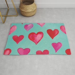 Romantic Watercolor Hearts - Pink -Turqouise Rug