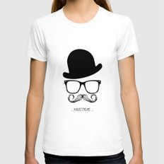 Mr. Moustache Womens Fitted Tee White SMALL