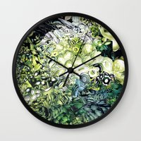 green lantern Wall Clocks featuring Green Lantern  by MelissaMoffatCollage