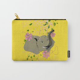 Lucky Elephant in Yellow Carry-All Pouch