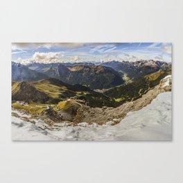 view from sass pordoi - Dolomites Panorama Canvas Print
