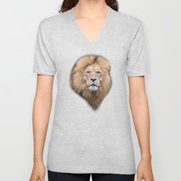 Closeup Portrait of a Male Lion Unisex V-Neck