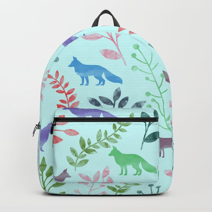 Watercolor Floral & Fox Backpack