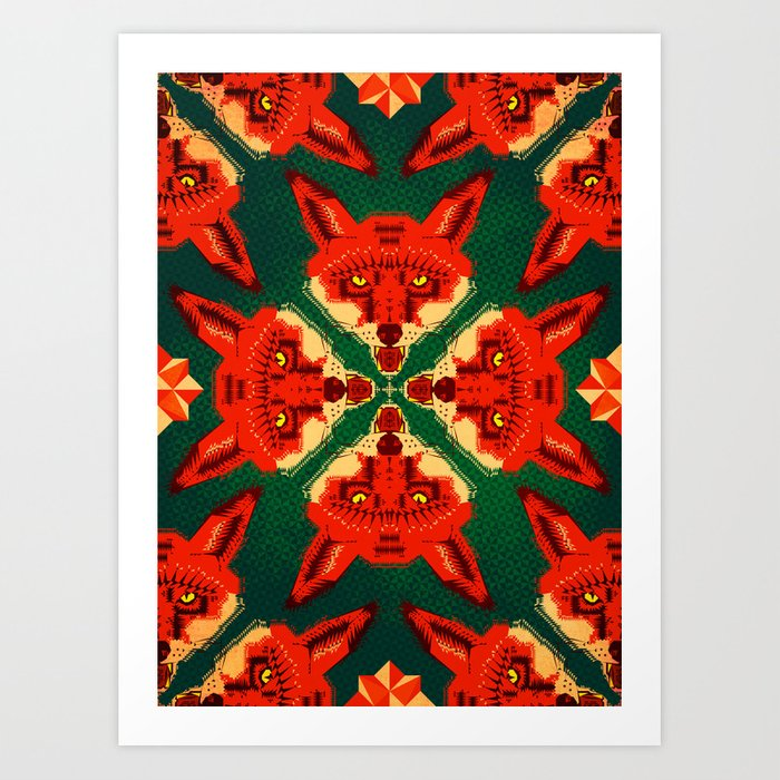 Fox Cross geometric pattern Art Print