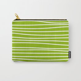 Apple Green & White Maritime Hand Drawn Stripes- Mix & Match with Simplicity of Life Carry-All Pouch