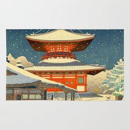 Asano Takeji Views of Wakayama Koyasan Nemoto Big Pagoda Japanese Woodblock print Rug