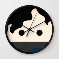 benedict cumberbatch Wall Clocks featuring Sherlock Benedict Cumberbatch by heartfeltdesigns by Telahmarie