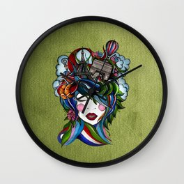 Paris girl in green Wall Clock